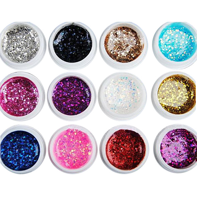 Negle Polish UV Gel 8 ml 12 pcs glitter / UV Color Gel / Klassisk Vaske Af Langtidsholdbar Daglig glitter / UV Color Gel / Klassisk