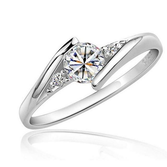 Diamant synthétique Bague / Anneaux Solitaire Argent Amour Zircon Zirconium Platiné 1 pc Gros Fantaisie dames Elégant 4 5 6 7 8 / Femme