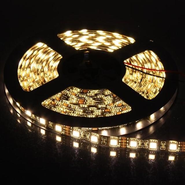 5m Fâșii De Becuri LEd Flexibile 300 LED-uri 5050 SMD Alb Cald Potrivite Pentru Autovehicule / Auto- Adeziv 12 V / IP65