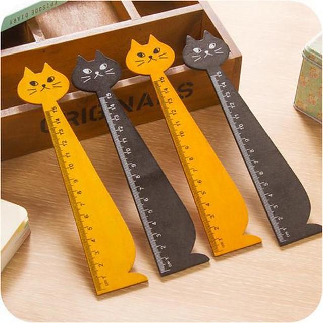 riglă de lemn formă pisică (culoare aleatorii)
