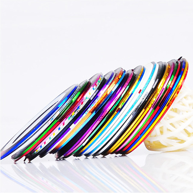 12 pcs Unghii foarfece bandă striping Pentru deget nail art pedichiura si manichiura Zilnic Abstract / Modă / Foil Stripping Tape