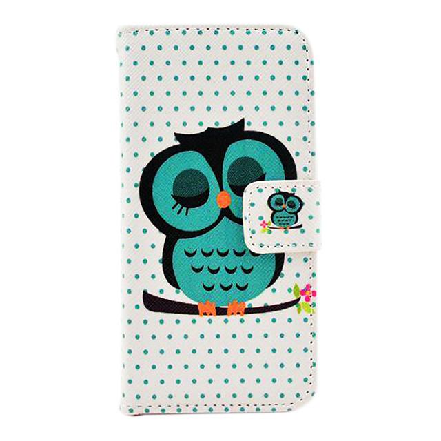 Maska Pentru iPhone 5 / Apple iPhone SE / 5s / iPhone 5 Titluar Card / Cu Stand Carcasă Telefon Animal / Bufniţă Greu PU piele