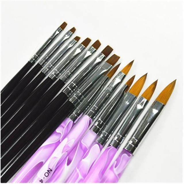 13 pcs black purple color painting drawing nail art pen brushes set for manicure uv gel false tips acrylic
