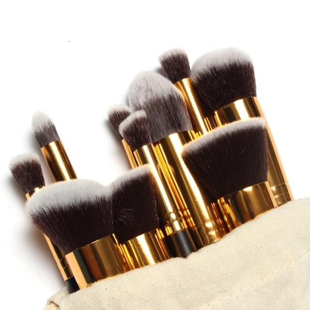 Profesjonell Makeup børster Børstesett 10pcs Bærbar Reise Økovennlig Profesjonell Full Dekning Tre Sminkebørster til Rougebørste Foundationbørste Øyenskyggebørste Concealer-børste Sminkebørstesett