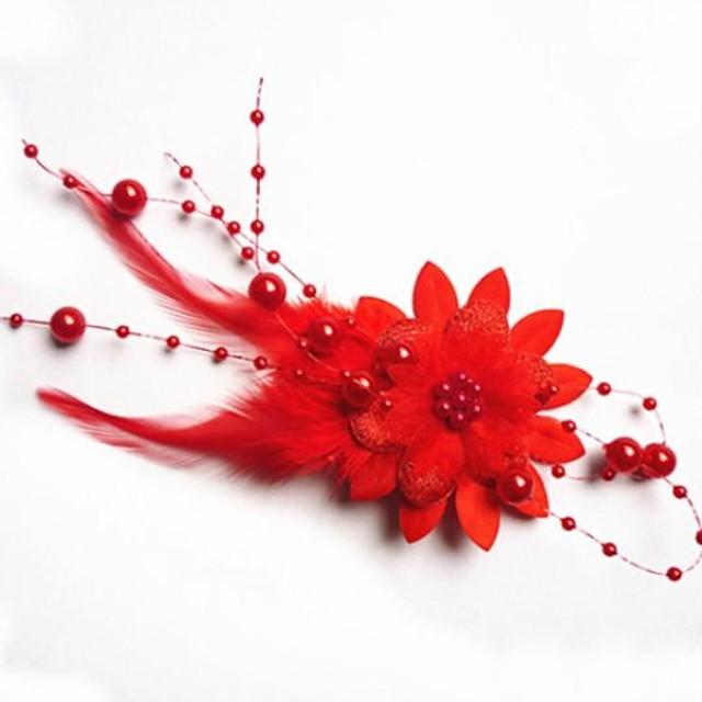 Pentru femei Agrafe de păr Pentru Nuntă Flori Imitație de Perle Material Textil Rosu