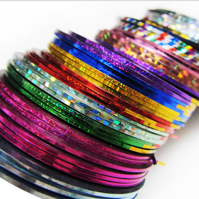 24 pcs Creative Acțibilde Unghii foarfece bandă striping Pentru Unghie Dungi nail art pedichiura si manichiura Zilnic Șic & Modern / Modă / Foil Stripping Tape