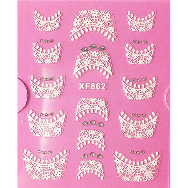 1 pcs Sfaturi de design francez 3D Acțibilduri de Unghii Lace Stickers Pentru deget nail art pedichiura si manichiura Zilnic Abstract / Modă / Ghidul francez de sfaturi / 3D pentru autocolante