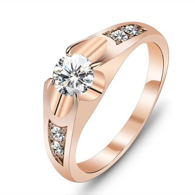 Pentru femei Inel de declarație Diamant Zirconiu Cubic Auriu Aur roz Zirconiu Cubic Placat Auriu femei Design Unic Nuntă Petrecere Bijuterii Solitaire Rundă Iubire