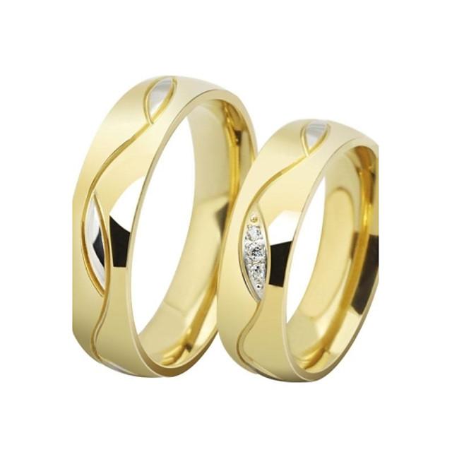 Inele Cuplu Zirconiu Cubic Auriu Negru Teak Oțel titan Placat Auriu Iubire femei Lux 2pcs / Pentru cupluri / Pentru cupluri / Diamante Artificiale / Band Ring