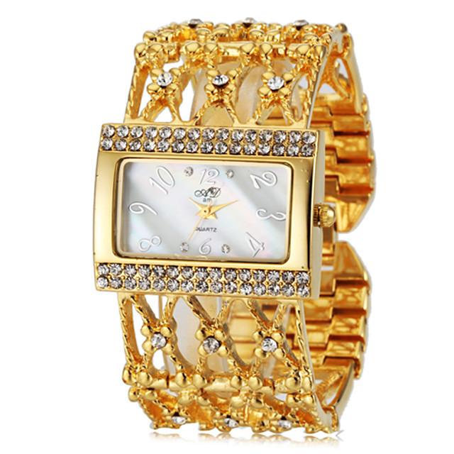 Femei Elegant Diamante Piața de caz cuarț banda de otel încheietura ceas
