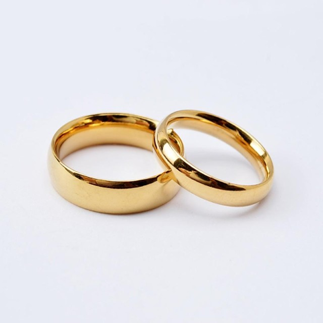 Couple Rings Classic Golden Black Titanium Steel Gold Plated Love Friendship Ladies Simple Simple Style / Women's / Band Ring