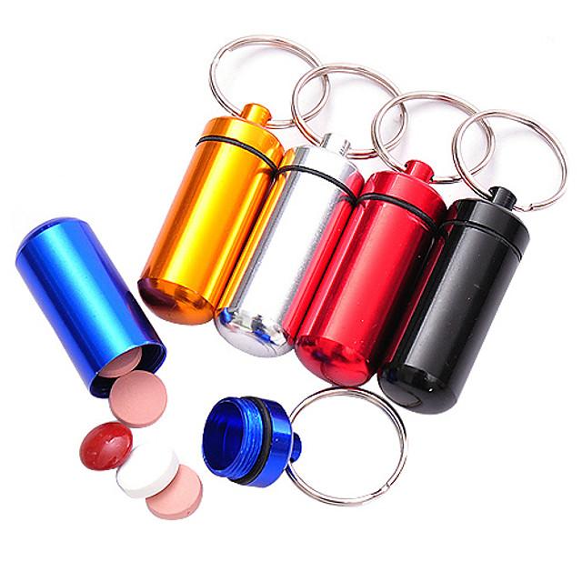 קופסת תרופות וכדורים לטיולים\נסיעות קייס הגלולה עמיד במים מיני עם מחזיק מפתחות גודל קומפקטי חירום פלסטי צעידה קמפינג לטייל חוץ צבע אקראי
