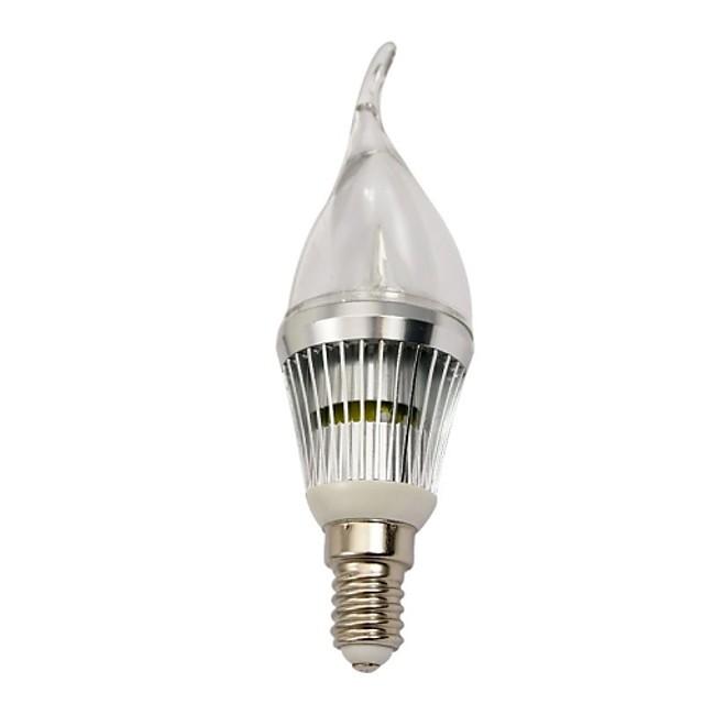 Becuri LED Lumânare 210-240 lm E14 3 LED-uri de margele LED Putere Mare Intensitate Luminoasă Reglabilă Alb Rece 220-240 V / RoHs