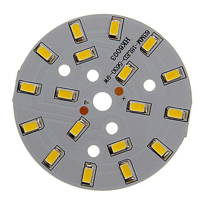 zdm 1 pc 9w 500-550lm 18 x 5730 smd diody LED doprowadziły źródło światła płyty ciepłe białe światło 3000-3500 k aluminium podłoża (dc21-24v, 300ma)