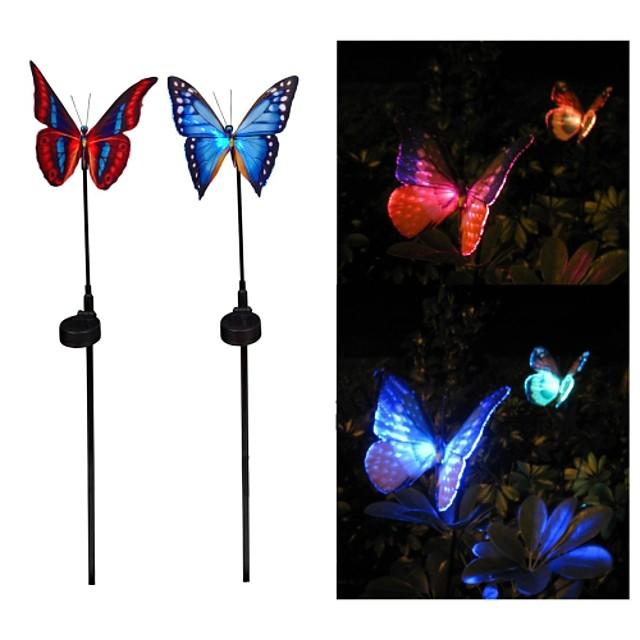 2pcs de energie solară fibra optica fluture rgb culori condus lumina de gradina lampă în aer liber