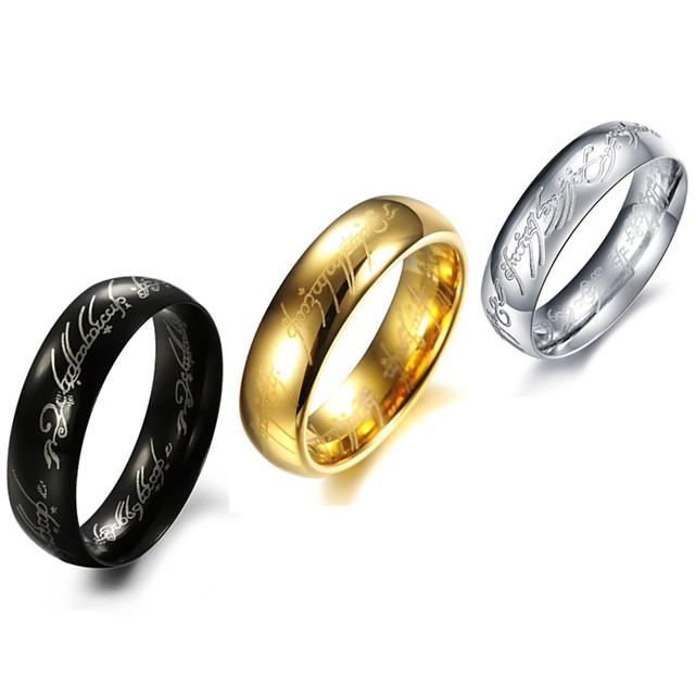 วงแหวน ทอง สีดำ สีเงิน Titanium Steel ส่วนบุคคล / สำหรับผู้ชาย