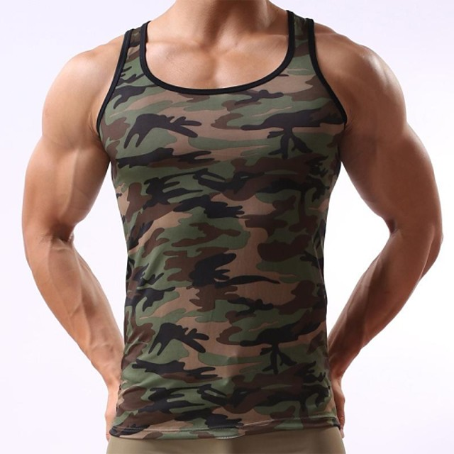 Men's Tank Top Camo / Camouflage Print Sleeveless Daily Tops Active Army Green