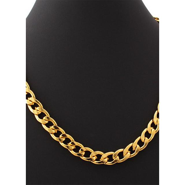 u7® placat cu aur de 18k indesata hiphop umplut mare colier de aur pentru bărbați lanțuri link Figaro pentru bărbați 11mm 55cm