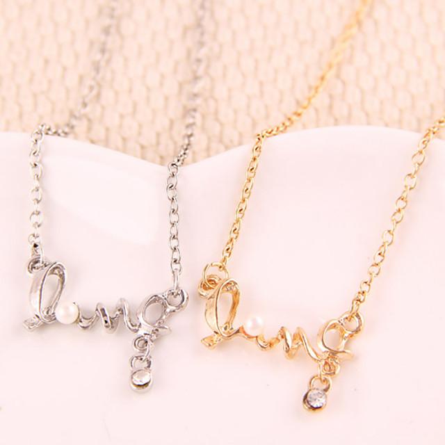 Mulheres Colares com Pendentes Monograma Amor Fashion Liga Dourado Prata Colar Jóias Para Festa