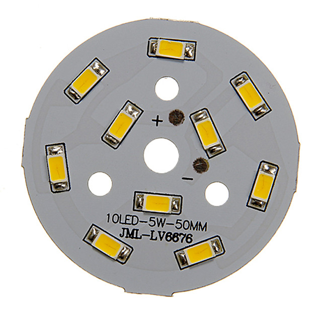 zdm 1pc 5w 450-500lm 10 x 5730 smd led carte source lumineuse lumière blanche chaude 3000-3500k (15-18v 0.3a)