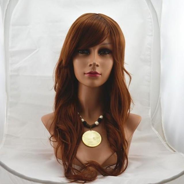 Peruci Sintetice Ondulat Ondulat Perucă Auburn mediu Păr Sintetic 24 inch Pentru femei Maro
