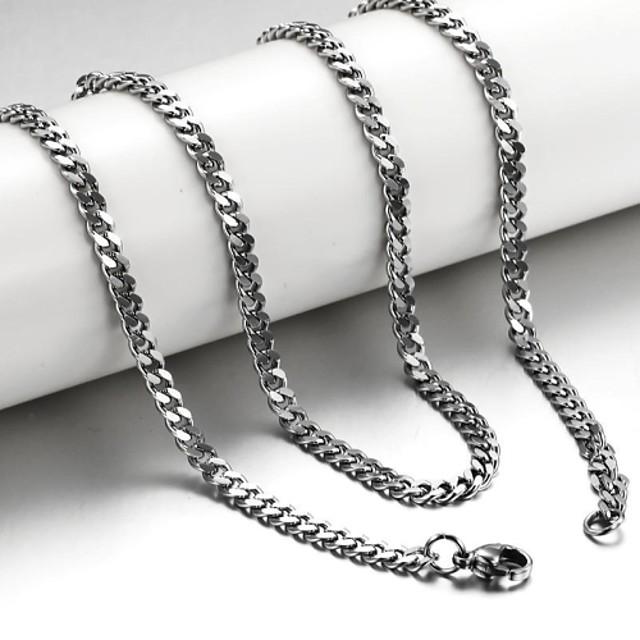 Bărbați Lănțișoare Foxtail lanț lanțul franco Mariner Chain Oțel titan Argintiu Coliere Bijuterii Pentru Cadouri de Crăciun Nuntă Petrecere Zilnic Casual Sport