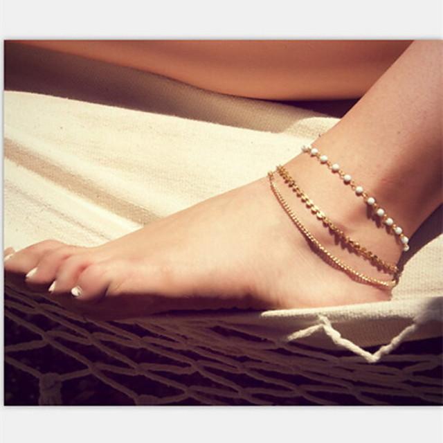 Brățară Gleznă picioare bijuterii Design Unic European Modă Bijuterii de corp Pentru Cadouri de Crăciun Petrecere Perle Imitație de Perle Aliaj Auriu
