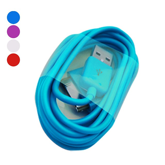 Elonbo Article 2 30 Pin to USB Data Sync Charger Cable for iPhone  4/4S / iPad / iPod(200cm,Assorted Color)