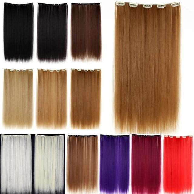Umane extensii de par Drept Clasic Păr Sintetic Extensii din Păr Natural Pentru femei Blond platinat