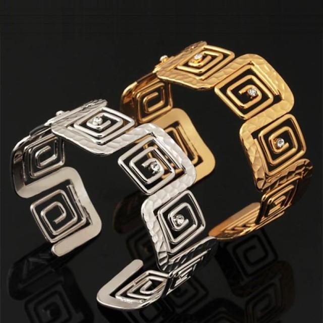 Pentru femei Diamant sintetic Brățări Bantă Brățară femei Modă Dubai Cristal Bijuterii brățară Auriu / Argintiu Pentru Nuntă Petrecere Ocazie specială Zi de Naștere Cadou Zilnic / Placat cu platină