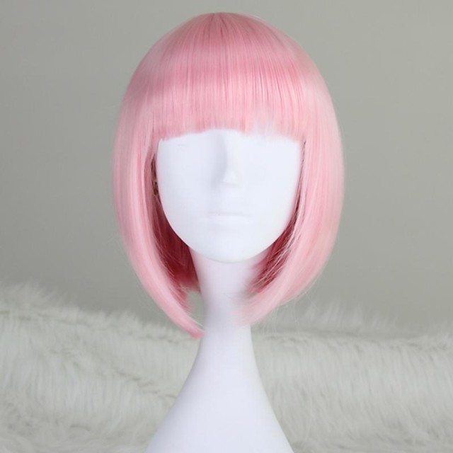 Synthetic Wig Straight Kardashian Straight Bob With Bangs Wig Pink Short Medium Length T-Rose Silver grey White Blue Purple Synthetic Hair 12 inch Women's Pink