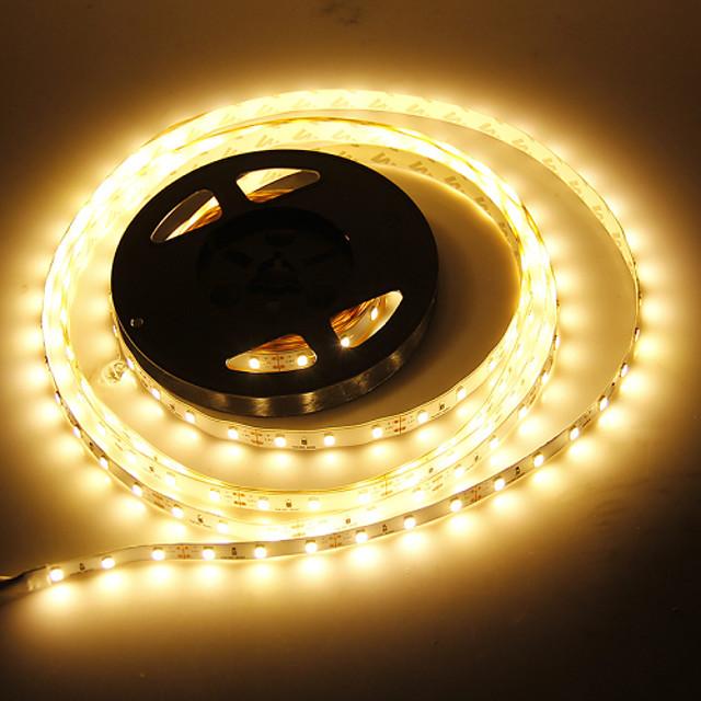 JIAWEN 5m Fâșii De Becuri LEd Flexibile 60 LED-uri 5730 SMD 1 buc Alb Cald Decorativ Potrivite Pentru Autovehicule Auto- Adeziv 12 V / IP44