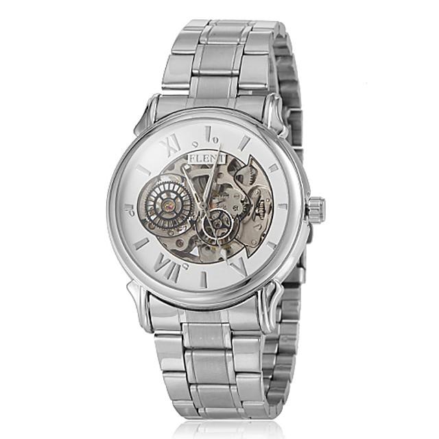 Bărbați Ceas Schelet Ceas de Mână ceas mecanic Japoneză Mecanism automat Oțel inoxidabil Argint Gravură scobită Analog Alb Negru