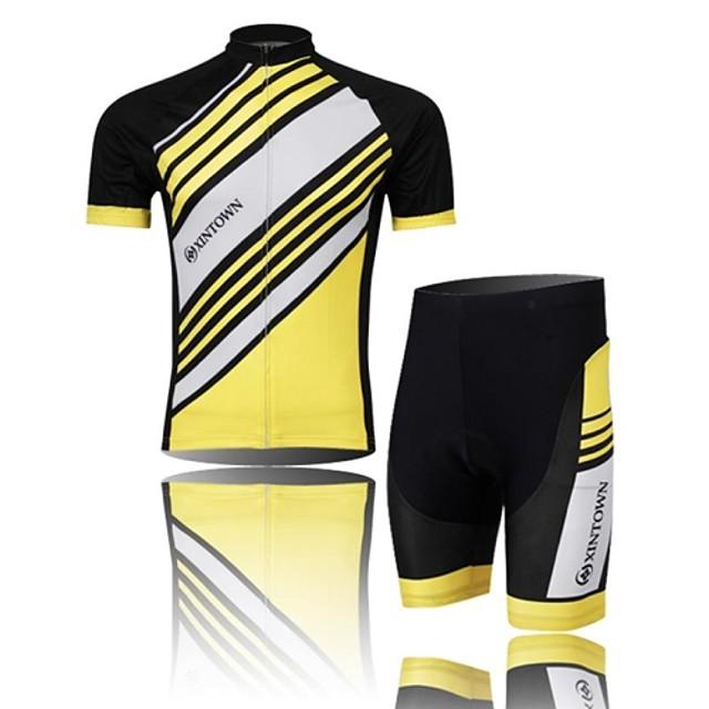 XINTOWN สำหรับผู้ชาย แขนสั้น Cycling Jersey with Shorts - สีดำ / สีเหลือง / ฟ้า จักรยาน กางเกงขาสั้น / เสื้อยืด / ชุดเสื้อผ้า, แห้งเร็ว, ระบายอากาศ, Sweat-wicking สลับ
