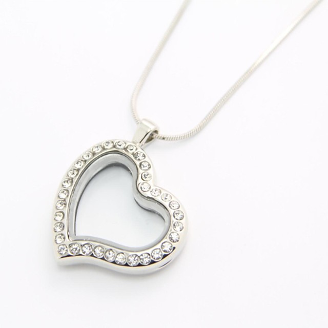 Love Curvy Heart Best Gift 30mm Floating Locket Origami Living Locket with Silver Snake Chain Necklace Lockets Necklaces