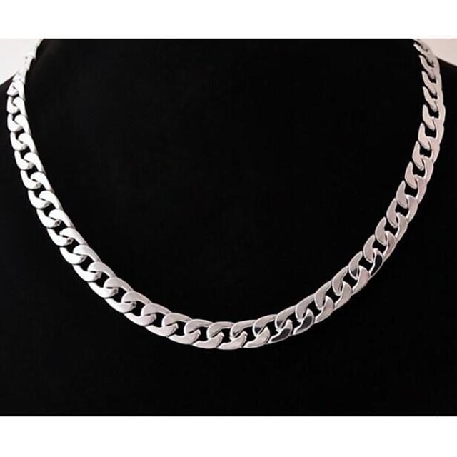Bărbați Lănțișoare Geometric Baht Chain Box lanț Design Unic Modă Teak Oțel titan Argintiu Coliere Bijuterii Pentru Nuntă Petrecere Cadou Zilnic Casual