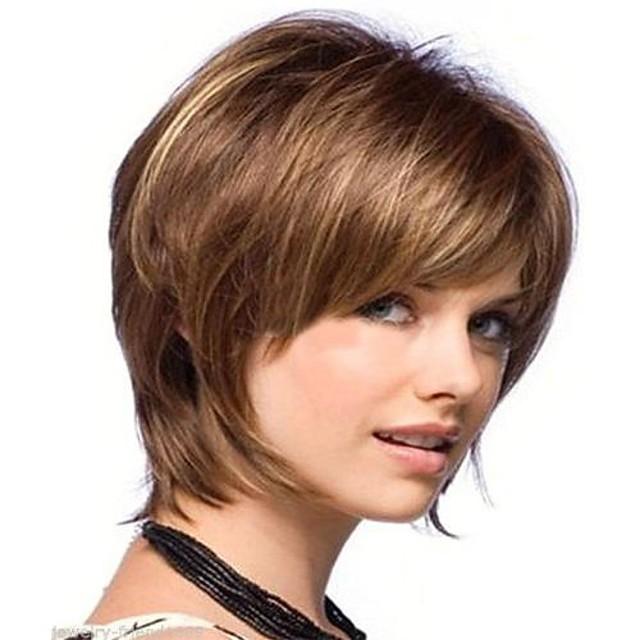 Synteettiset peruukit Suora Suora Peruukki Ruskea Synteettiset hiukset Naisten Ruskea