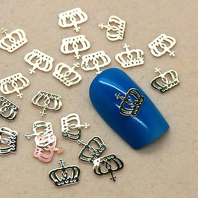 200pcs metal crown design golden slice nail art decoration