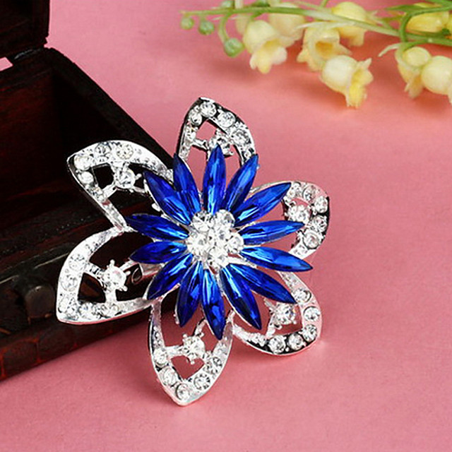 forma de flori de moda retro populare broșe aliaj multicolor stras coreeană (1 buc) (roșu, albastru)