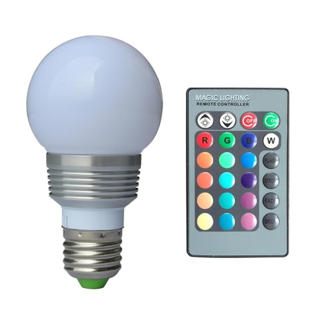 1 buc 3 W E27 Becuri cu baloane RGB 85-265 V