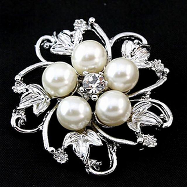 moda coreeană populare broșe stras din aliaj de perla de argint (1 buc)