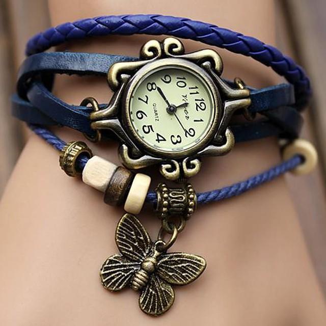 Pentru femei Ceas de Mână ceasul cu ceas Quartz Piele PU Matlasată Negru / Albastru / Orange cald Vânzare Analog femei Fluture Boem Modă Ceas Elegant - Negru Portocaliu Verde Un an Durată de Via
