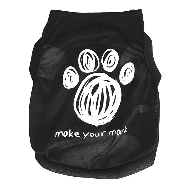 Pisici Câine Tricou Desene Animate Îmbrăcăminte Câini Haine pentru catelus Ținute pentru câini Negru Costum pentru fată și câine băiat Terilenă XS S M L