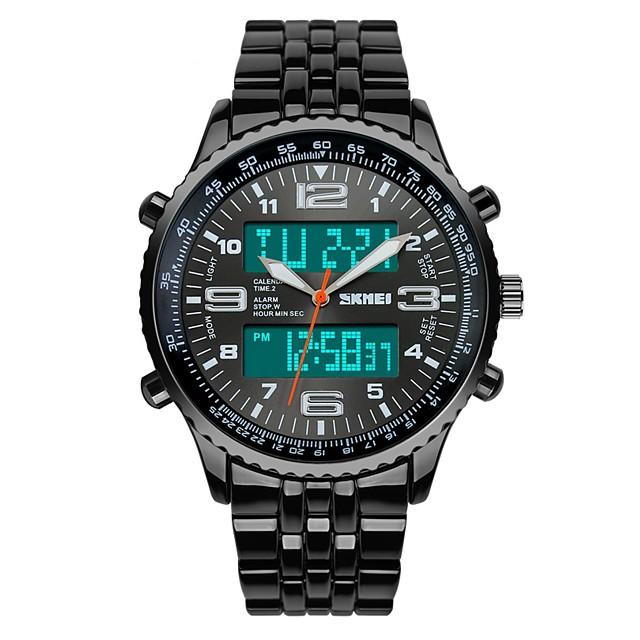 SKMEI Bărbați Ceas La Modă Ceas Militar Ceas de Mână Quartz Digital Quartz Japonez Oțel inoxidabil Negru 30 m Rezistent la Apă Alarmă Calendar Analog - Digital Lux - Negru Albastru Doi ani Durată de