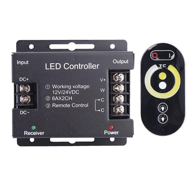 6a 2 canale RGB wireless condus controler cu telecomanda tactil pentru LED-uri RGB lampă benzi (12 ~ 24V)