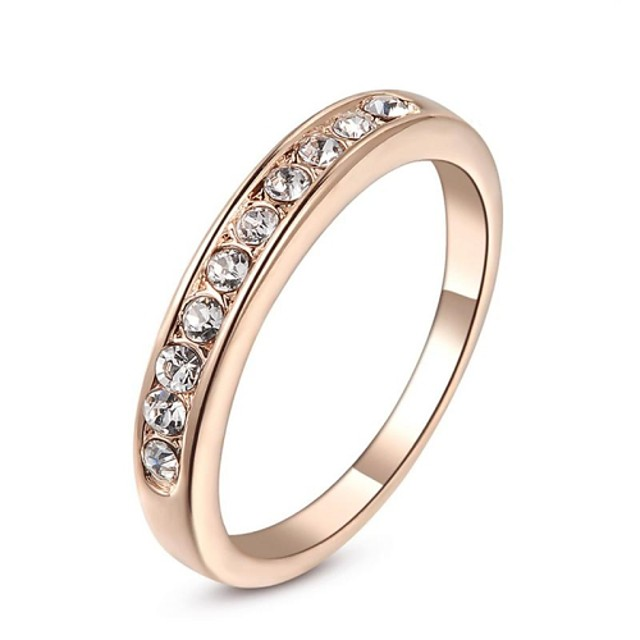 Pentru femei Band Ring Inel de Logodnă Cristal Argintiu Auriu Cristal Placat Auriu Diamante Artificiale femei Clasic Nuntă Petrecere Bijuterii / Zirconiu Cubic