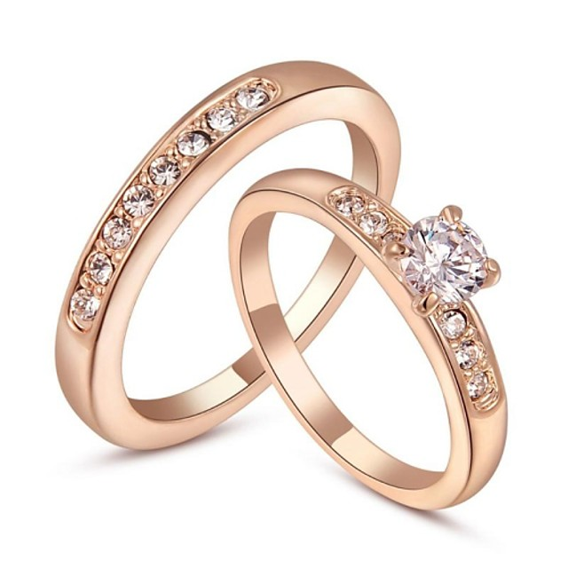 Pentru femei Inel de declarație Cristal Argintiu Auriu Cristal Placat Auriu femei Modă Nuntă Petrecere Bijuterii Rundă / Zirconiu Cubic / Zirconiu