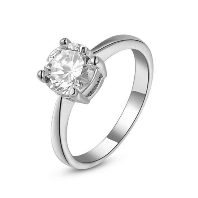 Pentru femei Inel de declarație Cristal Argintiu Auriu Cristal Placat Auriu Diamante Artificiale Montaj de Patru femei Nuntă Petrecere Bijuterii Rundă simulat / Zirconiu Cubic / Zirconiu