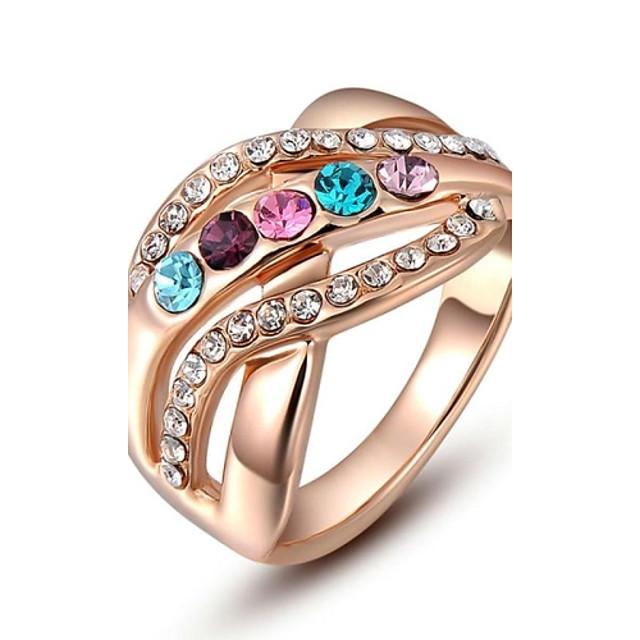 Pentru femei Inel de declarație / inel de înfășurare Cristal Roz auriu Cristal / Placat Auriu / Diamante Artificiale femei / Plin de Culoare Nuntă / Petrecere / Zilnic Costum de bijuterii