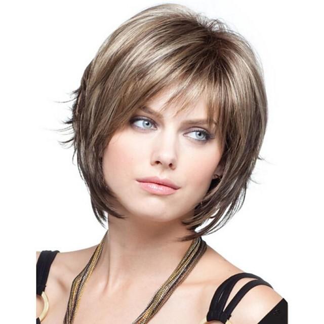 Synteettiset peruukit Laineita Laineita Bob-leikkaus Otsatukalla Peruukki Vaaleahiuksisuus Lyhyt Vaaleahiuksisuus Synteettiset hiukset 8 inch Naisten Vaaleahiuksisuus